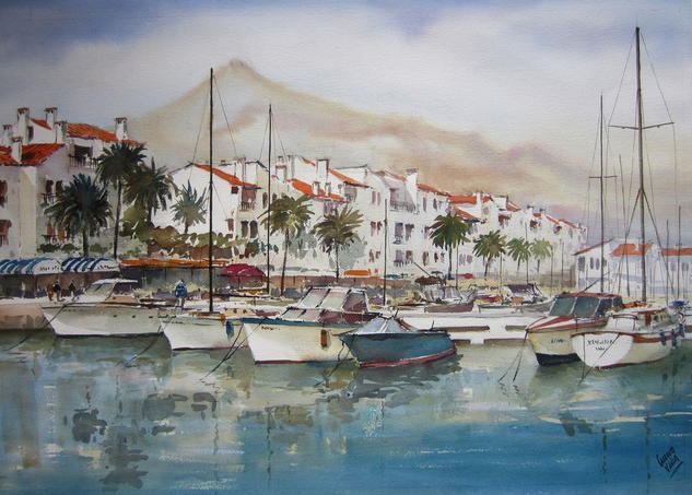 Puerto Banus-Málaga Papel Acuarela Marina
