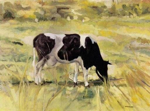 Vaca pastando luis matias lopez escanez - Cuadros de vacas ...