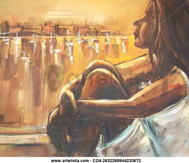Mujer mirando al puerto Otros Óleo Figura