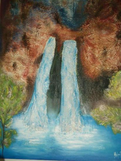 waterfall Media Mixta Lienzo Otros