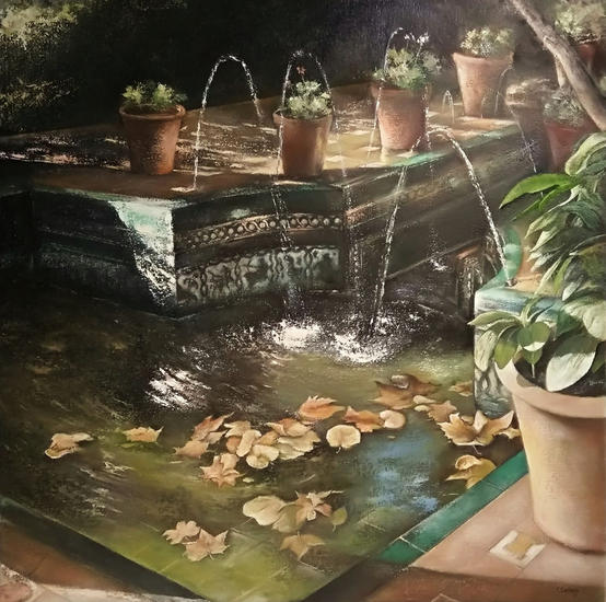 Jardín andaluz casa de Sorolla Paisaje Óleo Lienzo