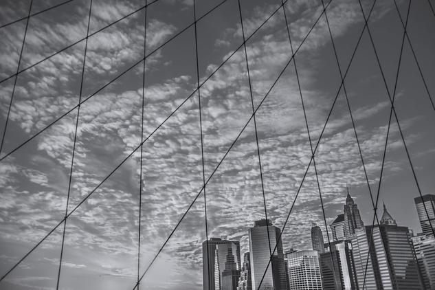New York City from the Brooklyn bridge Arquitectura e interiorismo Blanco y Negro (Digital)