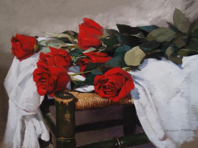 Rosas Panel Pastel Floral Painting