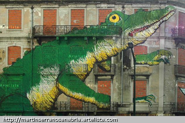 cocodrilo en la pared Viajes Color (Digital)