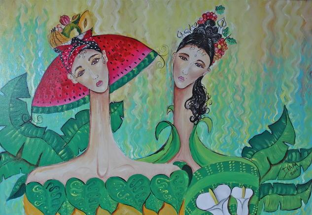 Mujeres y Frutas Acrílico Lienzo Figura