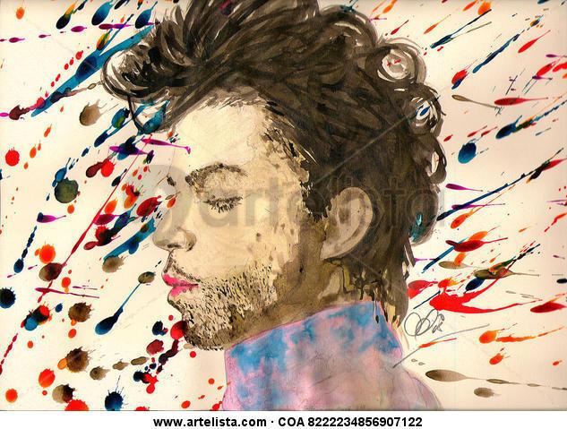 Purple Rain  Paper Ink Portrait