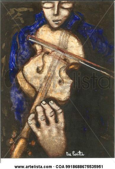 violinista azul Papel Acrílico Otros