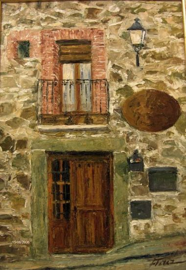 Una casa en el pueblo Óleo Tabla Paisaje