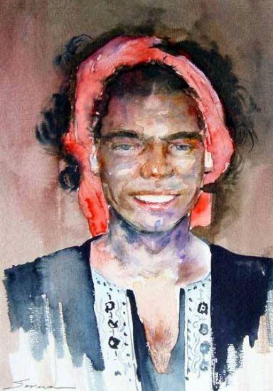 Quique disfrazado de moro Acuarela Cartulina Retrato
