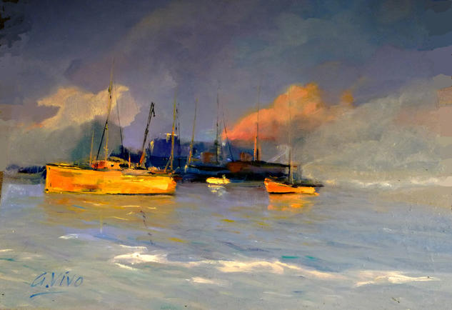 3788 2 cascos amarillos Marine Painting Oil Panel