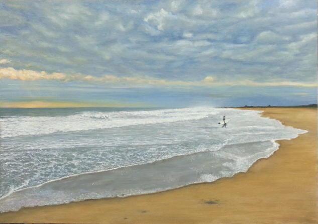 PLAYA DE EL SALER TORMENTOSA Marine Painting Oil Panel