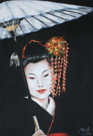 Geisha con sombrilla Portrait Pastel Paper