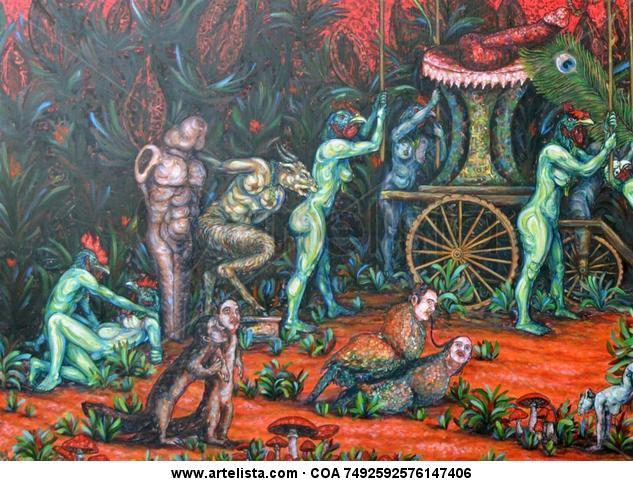 ?Se formó?, de la serie El culto a Príapo Desnudos Lienzo Acrílico