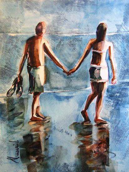 Paseo por la playa Card Oil Marine Painting