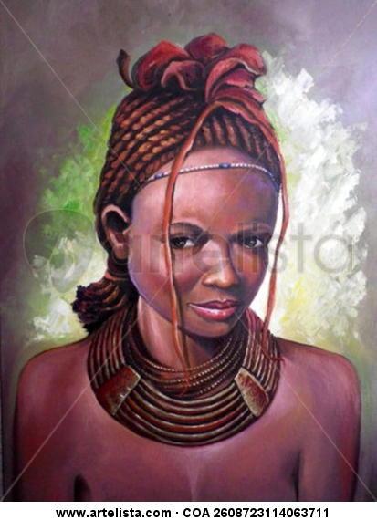 LA  AFRICANA Lienzo Óleo Figura