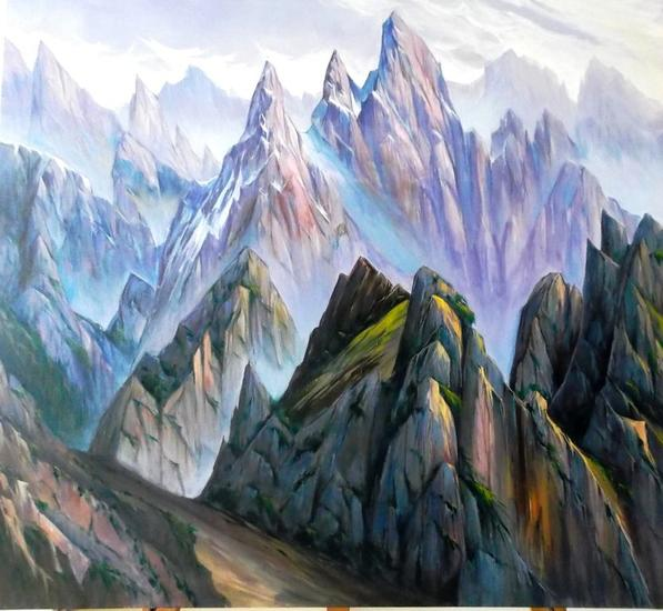 Picos de Europa-Neblinas matinales - 236 Lienzo Acrílico Paisaje