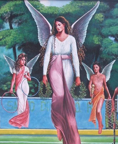 Dettalles de los tres Angeles Detalle del mural ''La gran Celebración'' Figura Acrílico Otros
