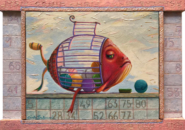 EL PEZ BINGO - (Marco integrado, adornado) Panel Acrylic Animals