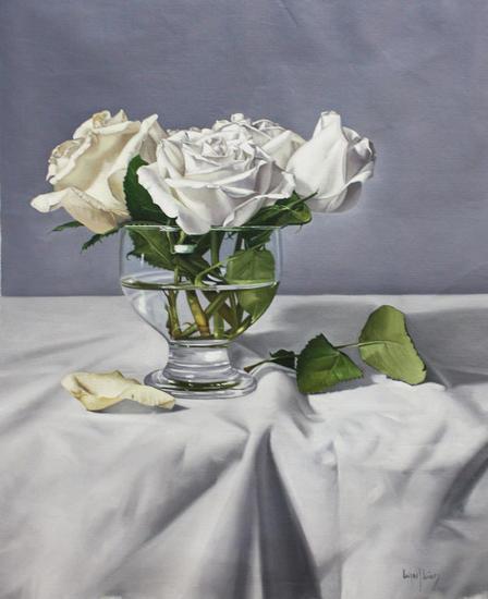 """""""Rosas blancas"""" Floral Painting Oil Canvas"""