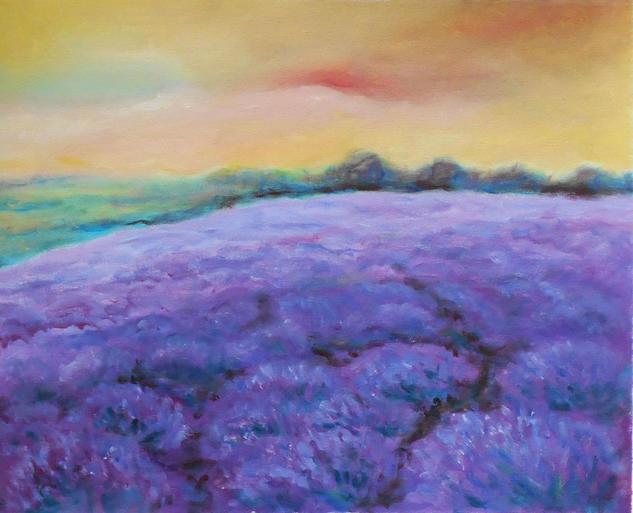 Lavender field Paisaje Acrílico Lienzo