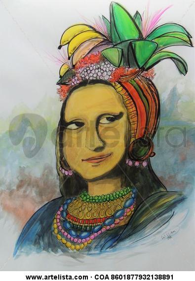 MONA LISA MIRANDA Portrait Watercolour Paper