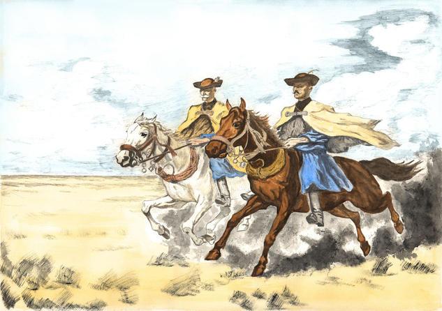 Two hungarian horsemen Papel Acuarela Animales