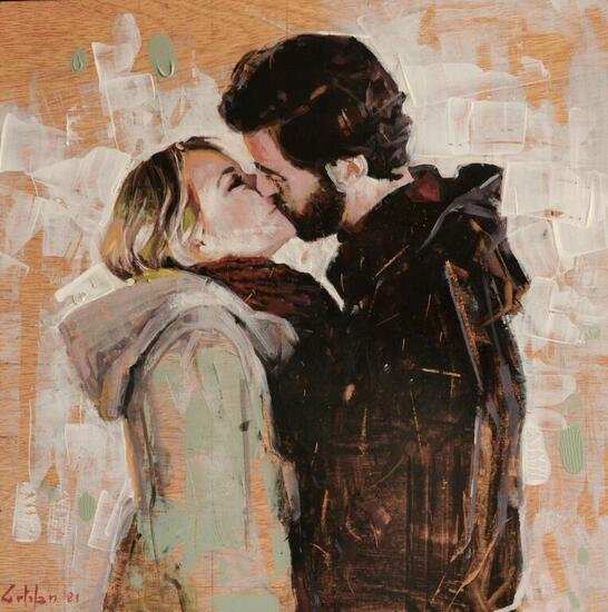 Un beso de invierno Retrato Óleo Tabla