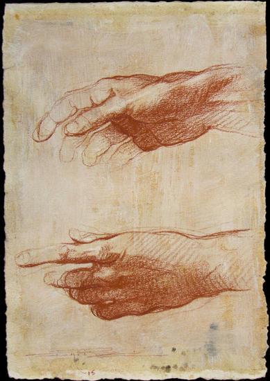 Estudio de dos manos Sanguina