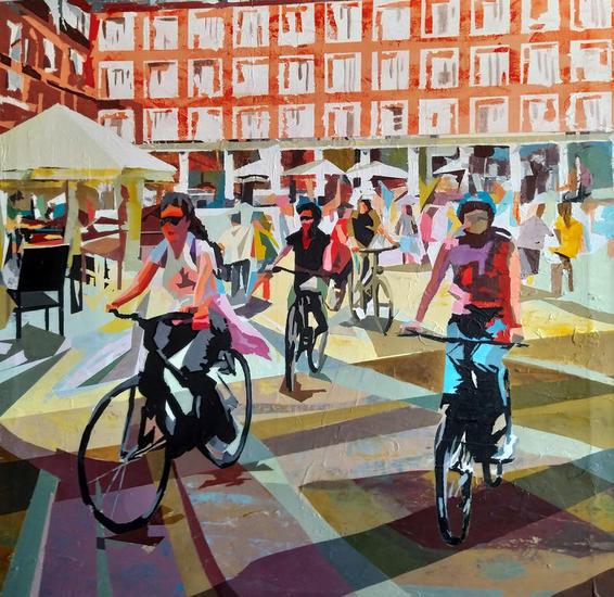 Paseo por Plaza Mayor Figura Acrílico Lienzo