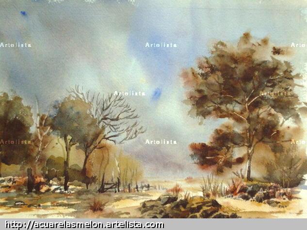 arbol rojizo Paper Landscaping Watercolour