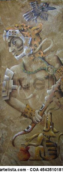 ESTELA Nº 1 GUERRERO DEL TIEMPO -BALAM- Panel Acrylic Figure Painting
