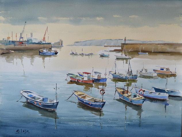 Botes de pescadores Papel Acuarela Marina