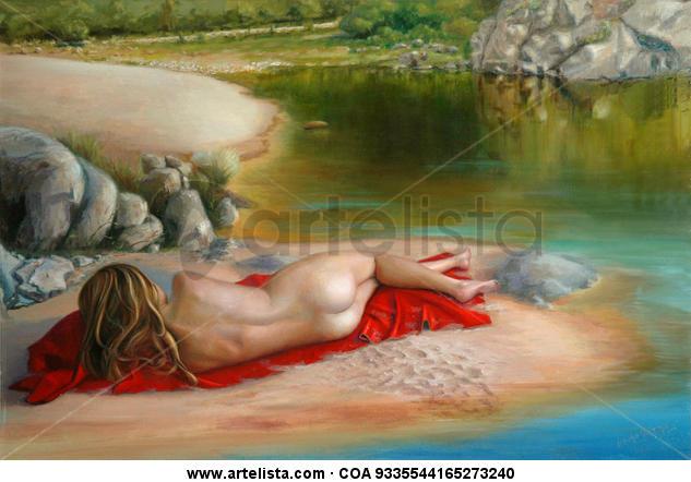 Descanso al sol Lienzo Óleo Desnudos