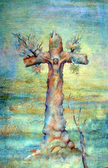 El Cristo más Famoso de México Cartulina Óleo Paisaje