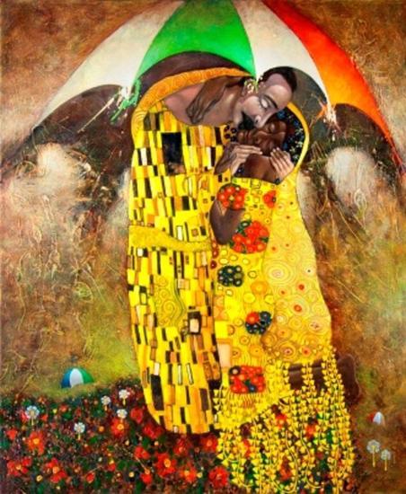 El maestro y el beso a la criolla  Tela Óleo Figura