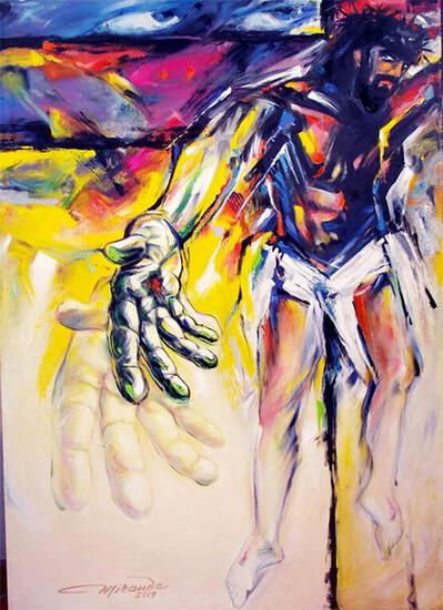 Dale tu mano a Cristo Figura Óleo Lienzo