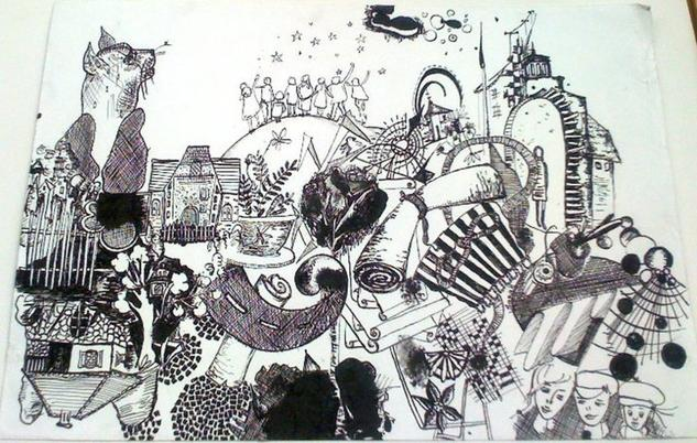 chaos Ink Still Life Paintings Paper