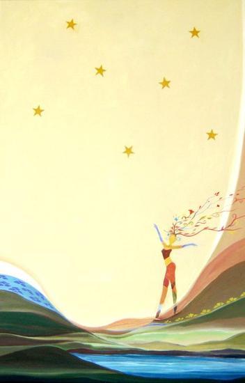 Una estrella para Río Lienzo Acrílico Figura