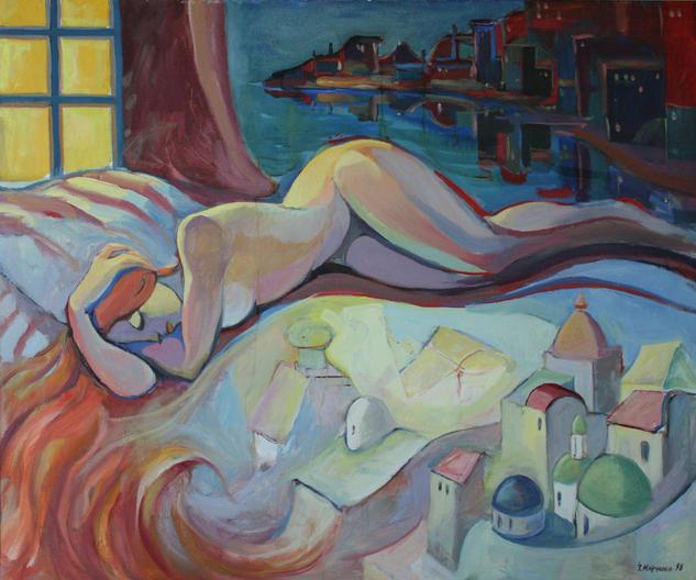 Sleepy Lienzo Óleo Desnudos
