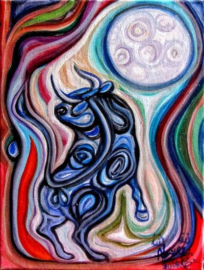 El toro enamorado de la luna Animales Óleo Lienzo