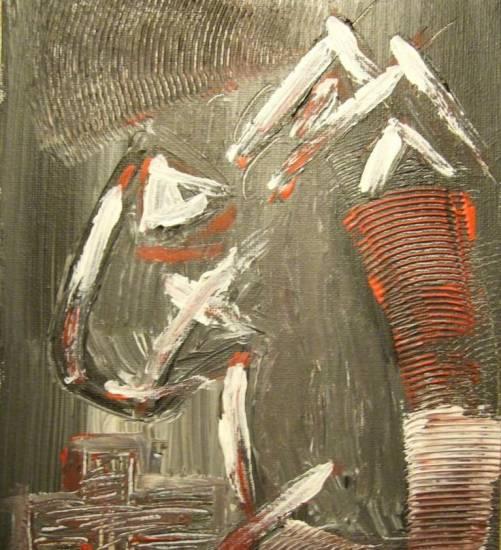 Black and red Acrílico Tabla Retrato
