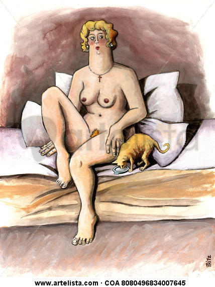 Mujer con gato Técnica Mixta