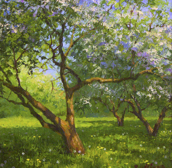 El manzanal floreciendo Paisaje Óleo Lienzo