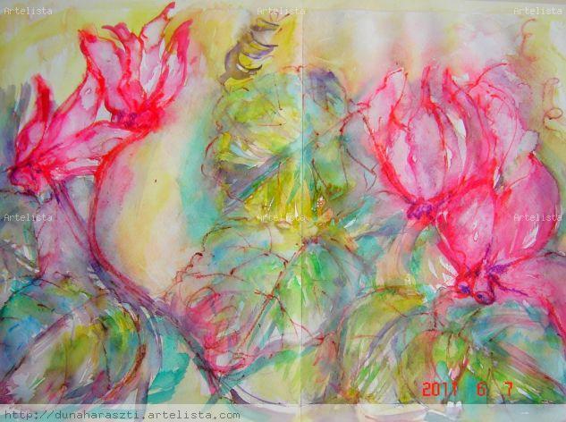 ciclamen Acuarela Papel Floral