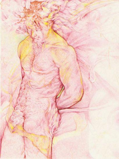 FAUNO PENSATIVO Desnudos Papel Lápiz (a color)