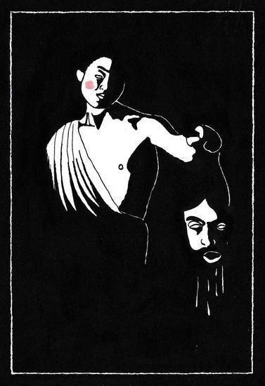 Davide e Golia Desnudos Tinta Cartulina