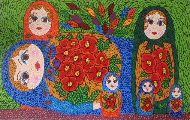 Muñecas rusas II Lienzo Acrílico Figura
