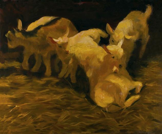 Goat Kids Animales Óleo Lienzo