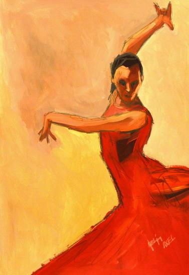 bailando Figure Painting Oil Card