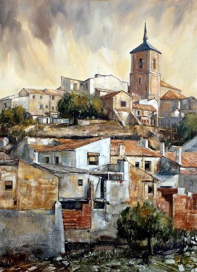 Vista de un pueblo de Toledo Paisaje Lienzo Óleo